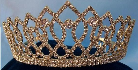 Rhinestone Bridal Queen Princess Miss Beauty Queen Crown Gold Tiara, CrownDesigners