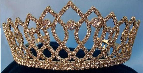 Rhinestone Bridal Queen Princess Miss Beauty Queen Crown Gold Tiara - CrownDesigners