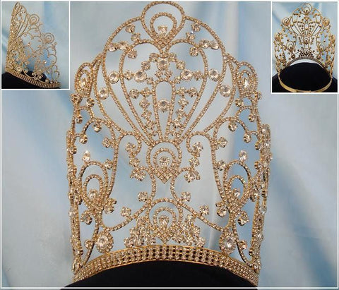 The Empress of Latin America Stars Rhinestone GOLD CROWN Tiara - CrownDesigners