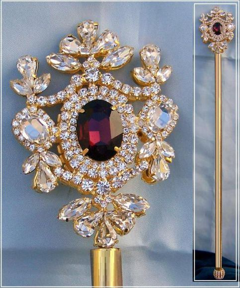 Russian Imperial  Dynasty Palace Gold  Rhinestone Scepter - CrownDesigners