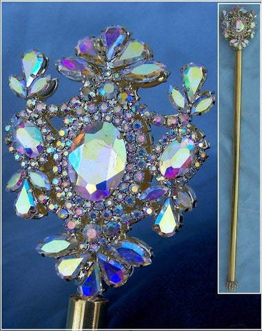 Russian Imperial  Dynasty Palace Gold  Rhinestone Scepter Aurora Borealis - CrownDesigners