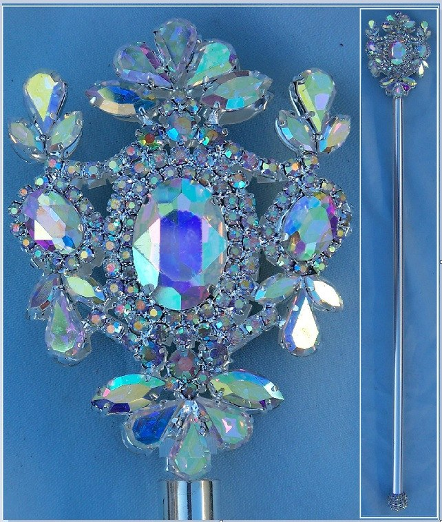 Russian Imperial  Dynasty Palace Silver  Rhinestone Scepter Aurora Borealis, CrownDesigners