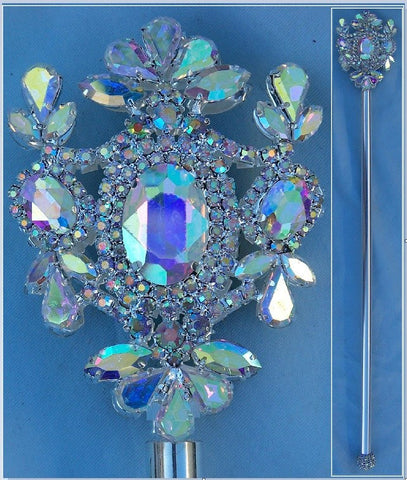 Russian Imperial  Dynasty Palace Silver  Rhinestone Scepter Aurora Borealis - CrownDesigners