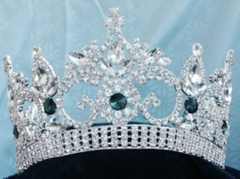 Continental Adjustable Silver Emerald Contoured Rhinestone Crown Tiara, CrownDesigners