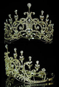 Leaey-Spray Tiara 1905 English Rhinestone gold Crown Bridal Princess Tiara - CrownDesigners