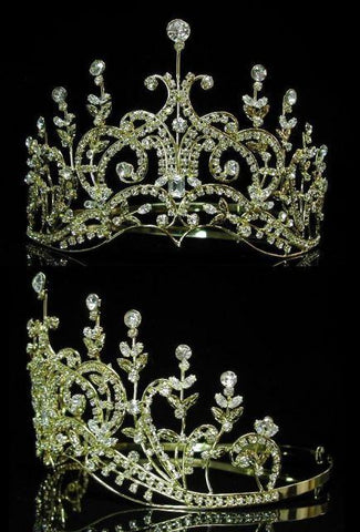 Leaey-Spray Tiara 1905 English Rhinestone gold Crown Bridal Princess Tiara, CrownDesigners