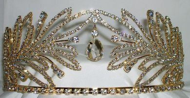 Beauty Pageant Queen Princess, Bridal Gold Rhinestone Crown Tiara - CrownDesigners