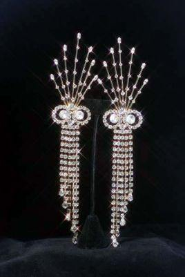 Beauty Pageant Rhinestone Dangling Gold  Earrings, CrownDesigners