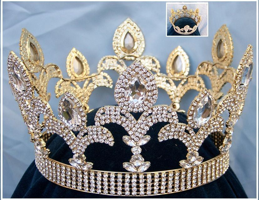 The Millenium rhinestone  UNISEX full gold crown - CrownDesigners