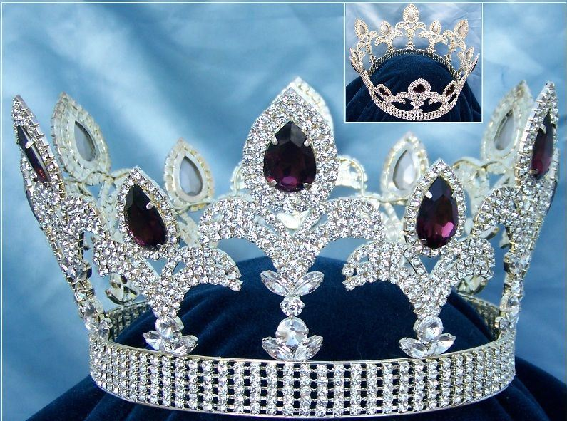 The Millennium Rhinestone UNISEX Full Silver Amethyst Purple Crown, CrownDesigners