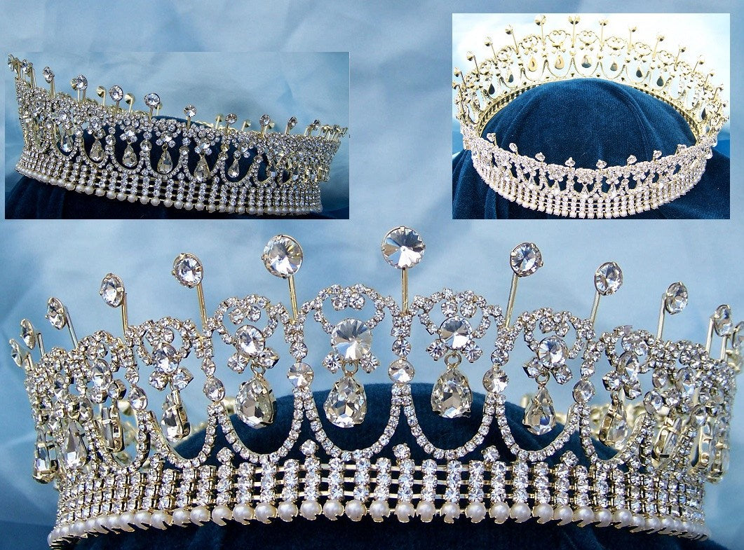 Diana Full Gold Rhinestone Crown - CrownDesigners