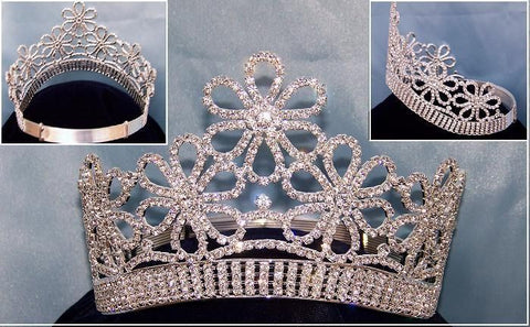 Floral Beauty Contoured Silver Crown (Adjustable), CrownDesigners