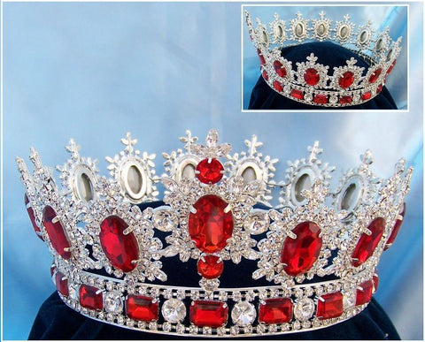 Men's Unisex Rhinestone Silver Full Ruby Red Royal Premium Crown, CrownDesigners