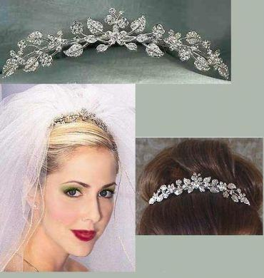 Beautiful Rhinestone Bridal Floral Comb, CrownDesigners