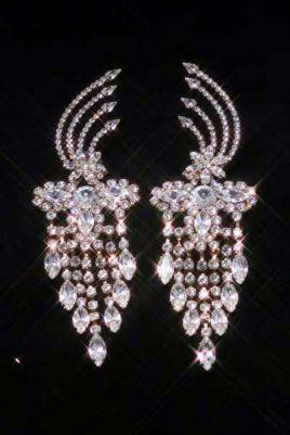 Beauty Pageant Rhinestone Vanderbilt Dangling Gold Earrings, CrownDesigners