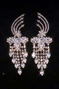 Beauty Pageant Rhinestone Vanderbilt Dangling Gold Earrings - CrownDesigners