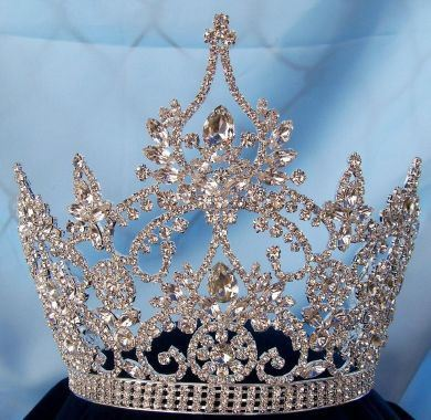 Continental Ajustable Tear Drop Silver Rhinestone Crown Tiara, CrownDesigners