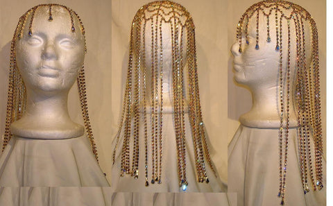 Studio 54 Rhinestone Gold with Aurora Borealis stones Hairpiece - CrownDesigners
