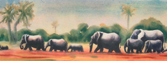 elephants marching across the plains by Susan Sargent