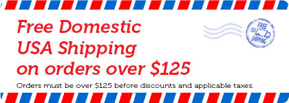 Free domestic USA shipping on orders over $125