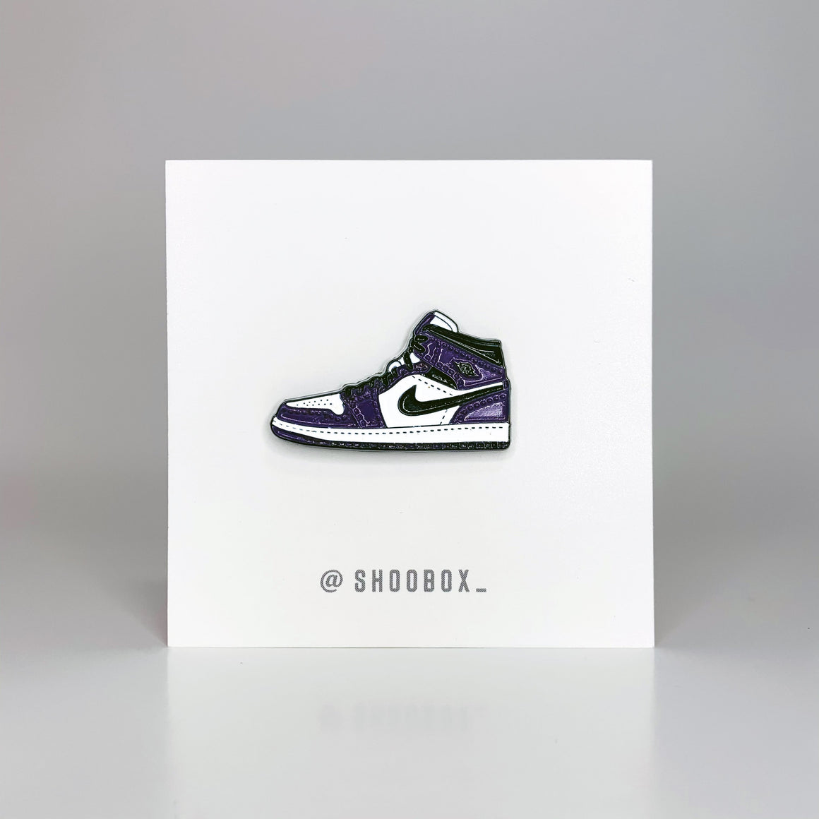 AJ1 Court Purple Soft Enamel Pin by Shoobox