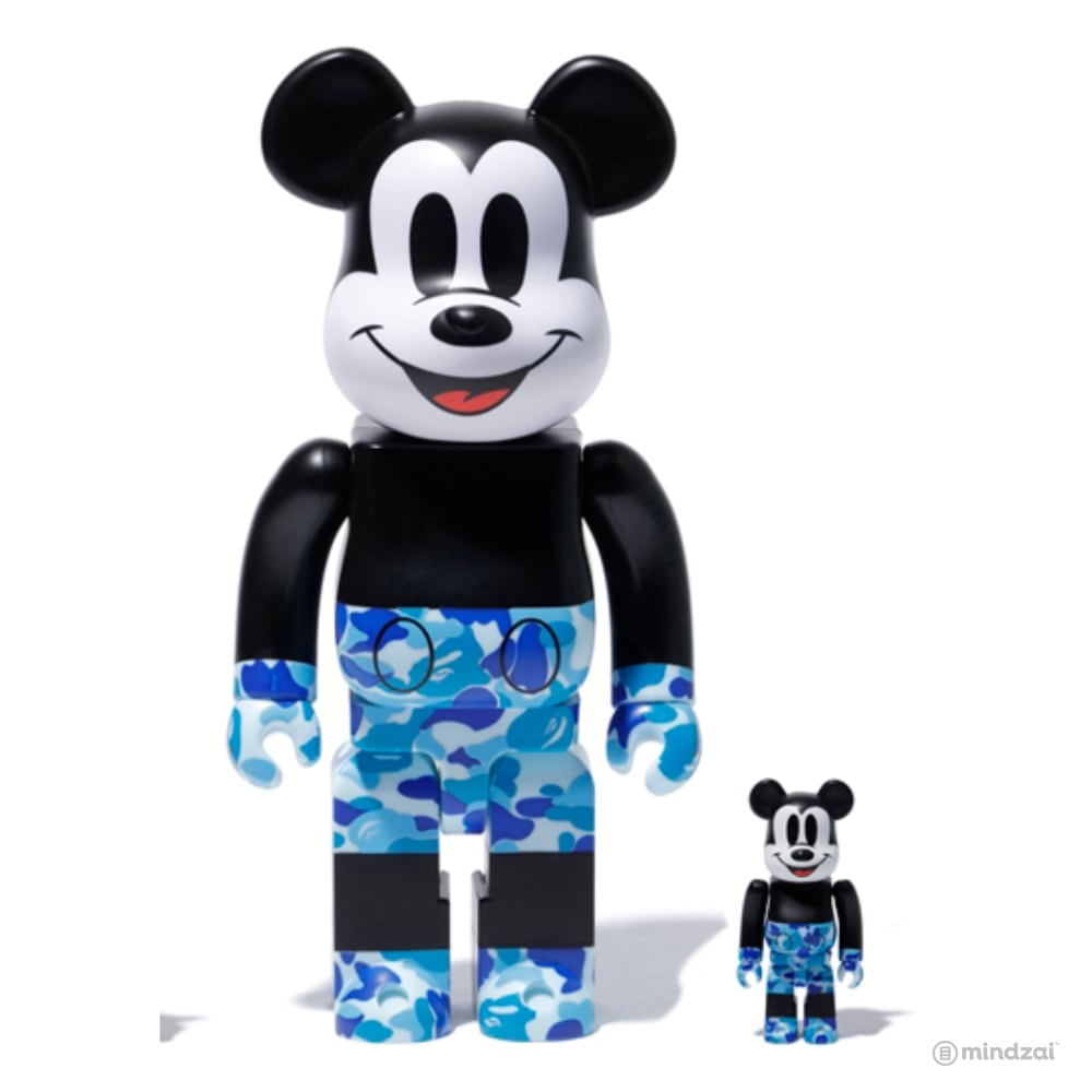 BAPE Mickey Mouse 100% 400% Bearbrick Set - Blue