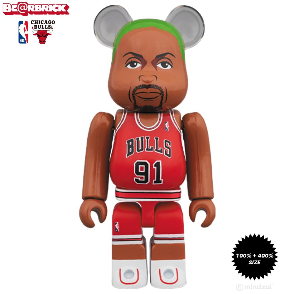 Dennis Rodman Chicago Bulls 100% + 400% Bearbrick Set by Medicom Toy x NBA