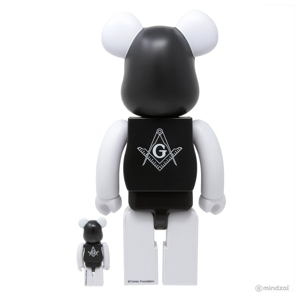 Freemasonry x Fragment Design 100% + 400% Bearbrick Set by Medicom Toy