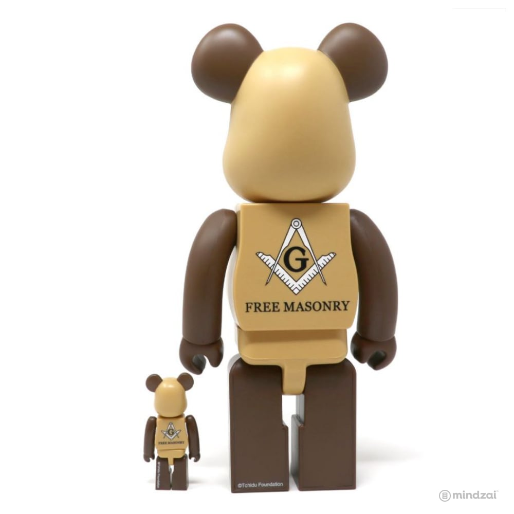 Freemasonry x Fragment Design 100% + 400% Bearbrick Set by Medicom Toy (Brown)