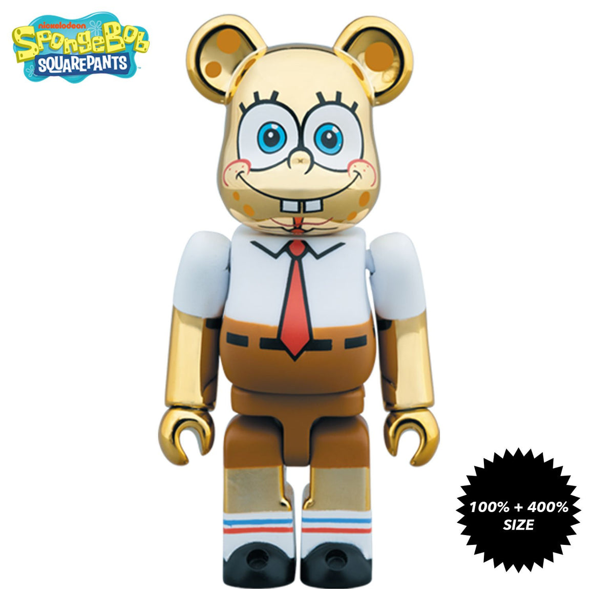 Chrome Gold Spongebob Squarepants 100% + 400% Bearbrick Set by Medicom Toy