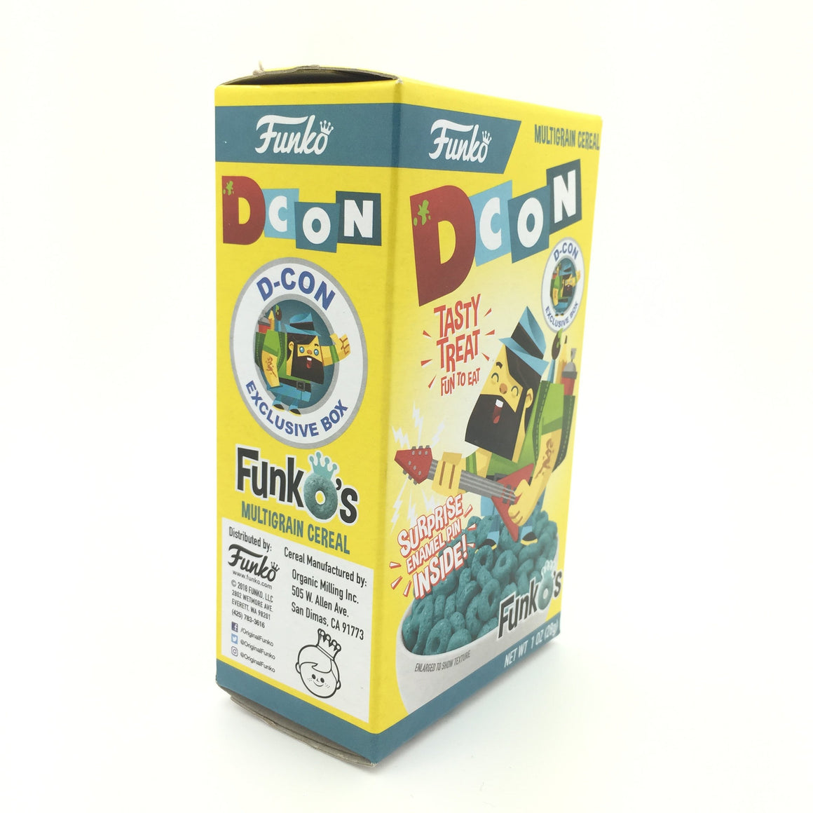 Designer Con FunkO's Exclusive Small Cereal Box with Surprise Enamel Pin