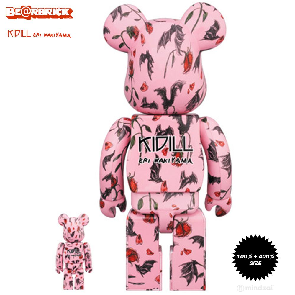 KIDILL × Eri Wakiyama Bat & Rose 100% + 400% Bearbrick Set - Pink Version