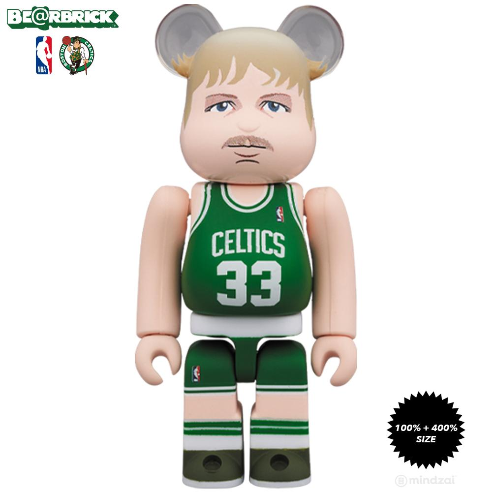 *Pre-order* Larry Bird Boston Celtics 100% + 400% Bearbrick Set by Medicom Toy x NBA