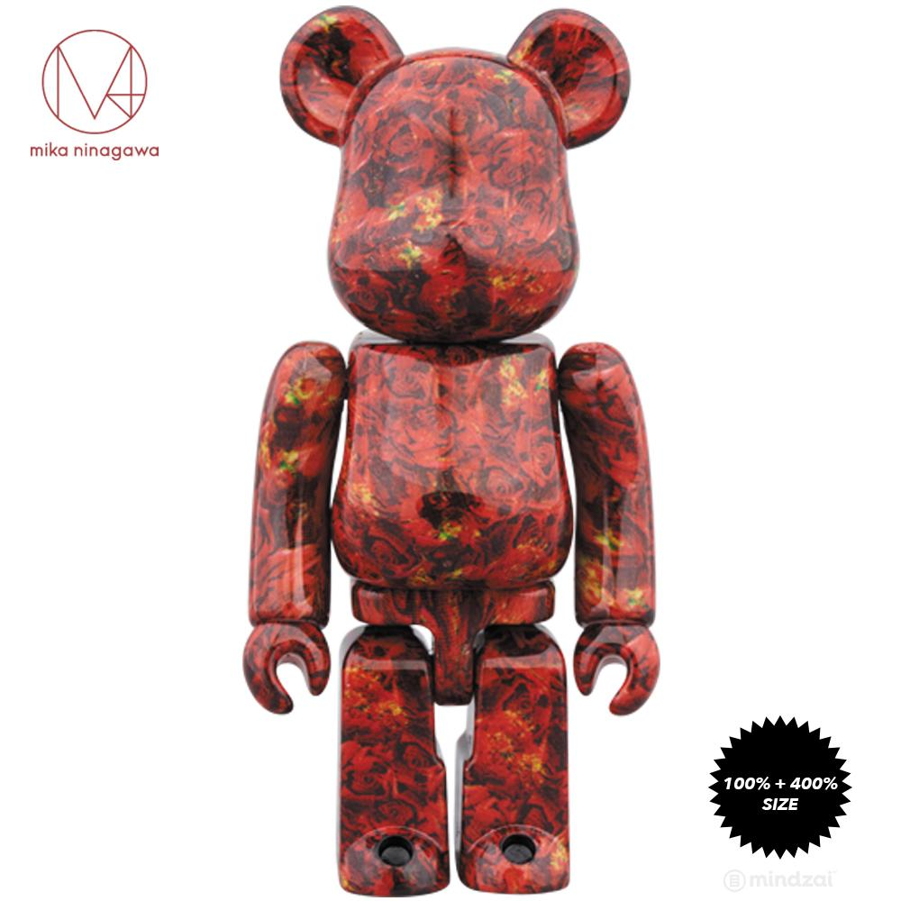 Leather Rose 100% + 400% Bearbrick Set by Mika Ninagawa x Medicom Toy