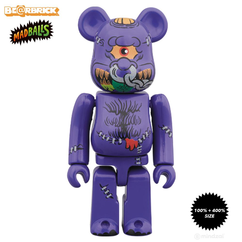 *Pre-order* MadBalls Horn Head 100% + 400% Bearbrick Set by Medicom Toy