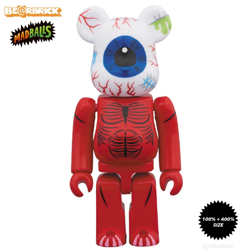 MadBalls Oculus Orbus 100% + 400% Bearbrick Set by Medicom Toy