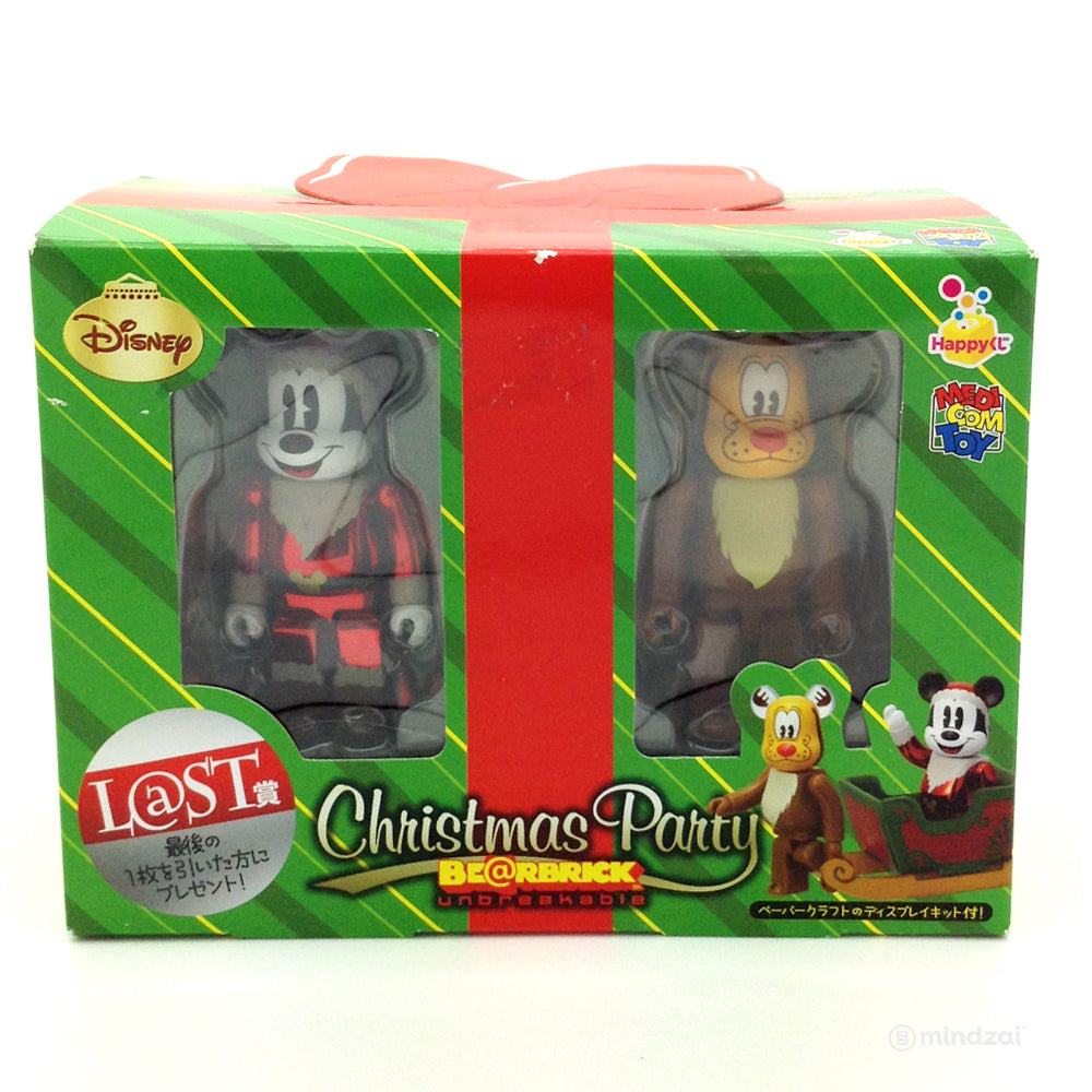 Disney Bearbrick Unbreakable - Christmas Party - Mickey Mouse Santa Metallic Red and Pluto Reindeer - Last Prize