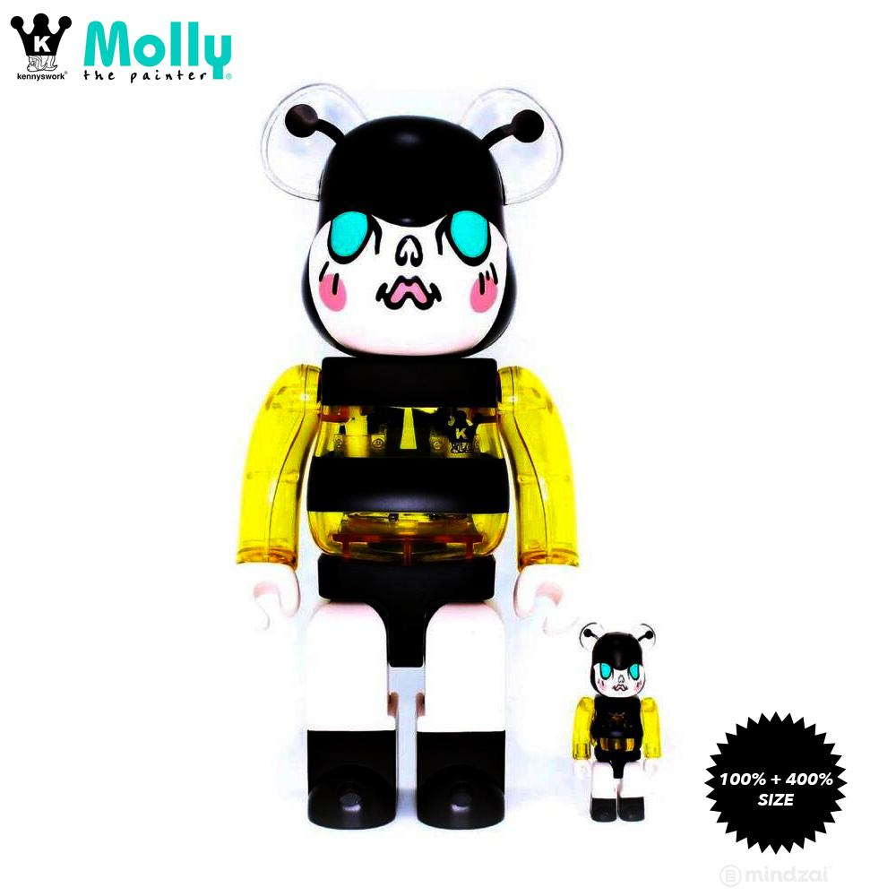 Molly BumbleBee 100% + 400% Bearbrick Set by Kennyswork x CG+ x Medicom Toy
