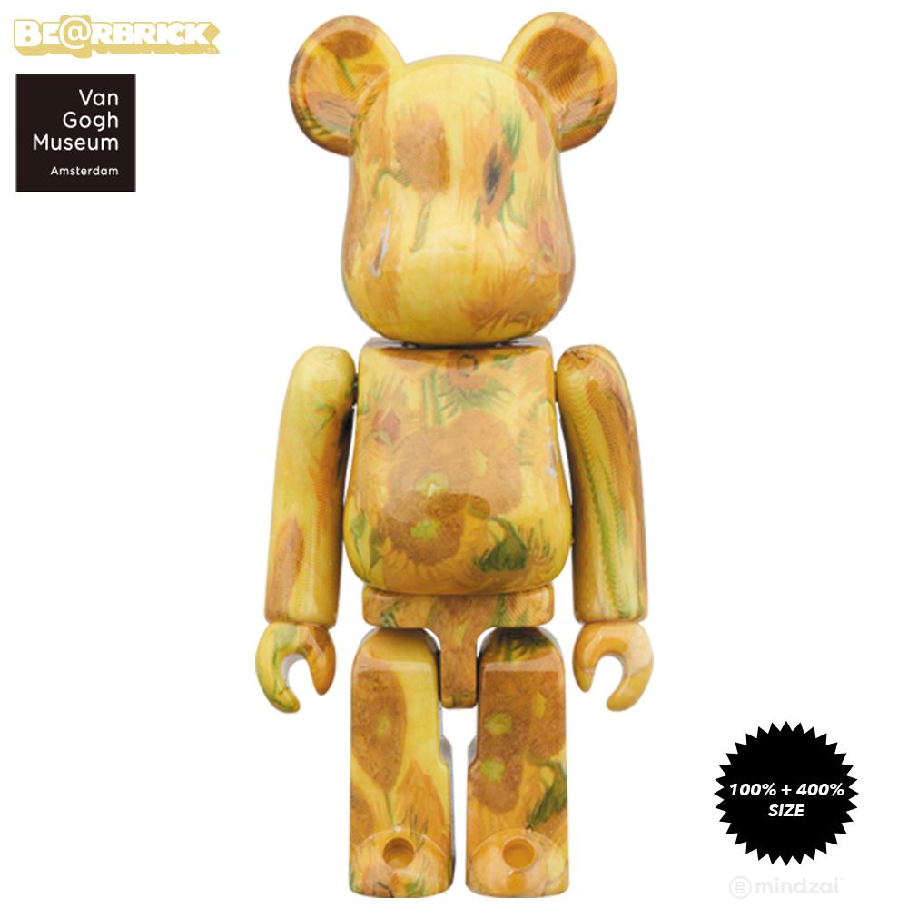 Sunflowers 100% + 400% Bearbrick by Vincent Van Gogh Museum x Medicom Toy