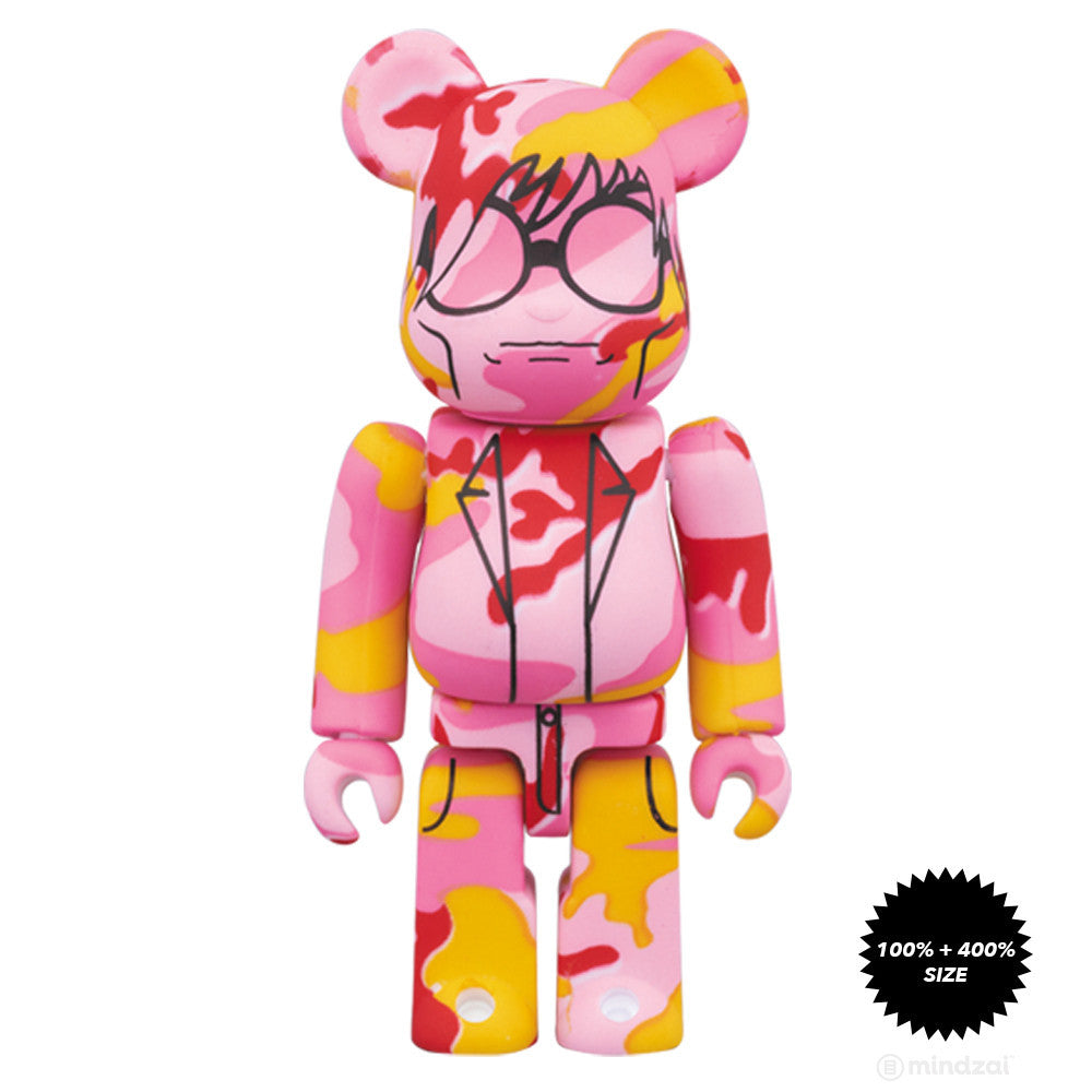 Andy Warhol Pink Camo This Is Andy 100% and 400% Bearbrick Set