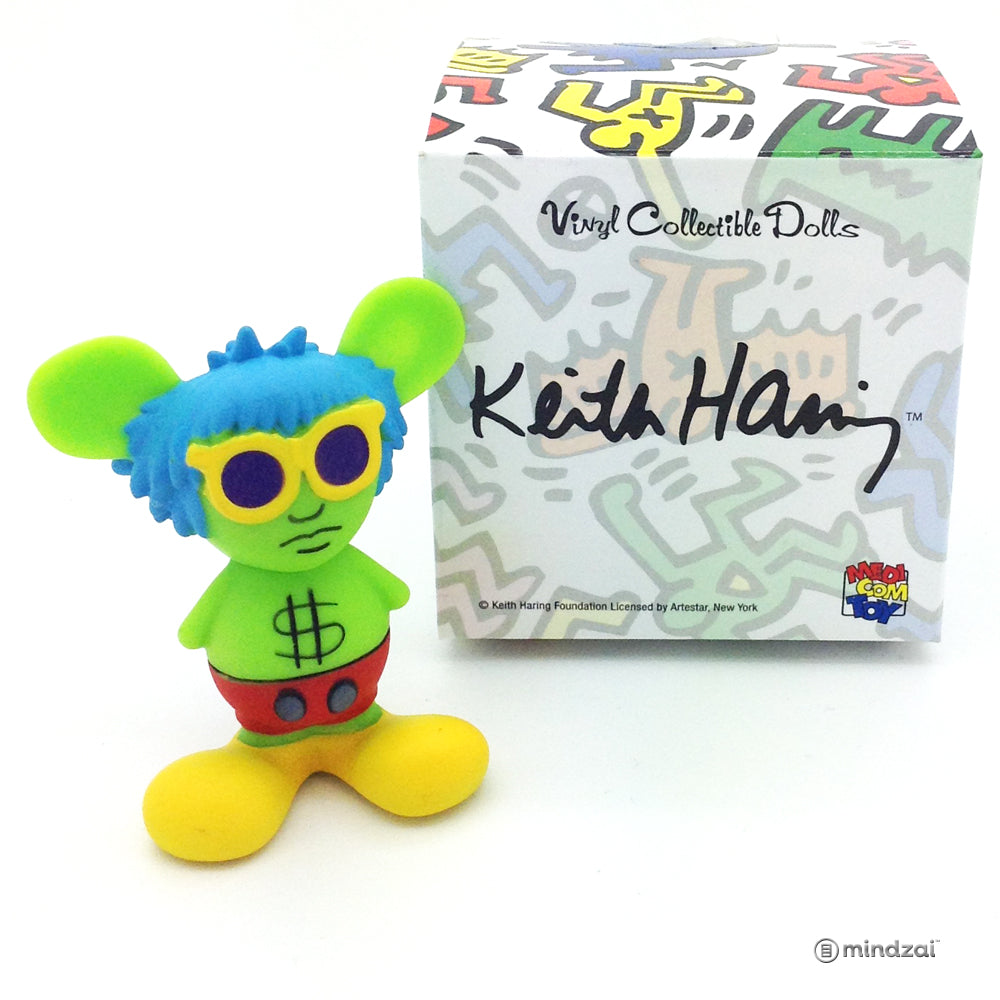 Keith Haring Mini VCD Blind Box Toy by Medicom Toy - Andy Mouse (Green with Blue Hair)