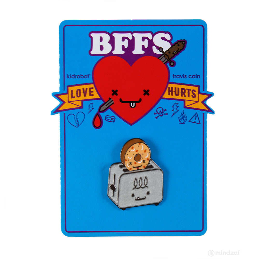 BFFS El Tostador and Lenny Toaster Bagel Enamel Pin by Kidrobot x Travis Cain - Pre-order - Mindzai  - 1