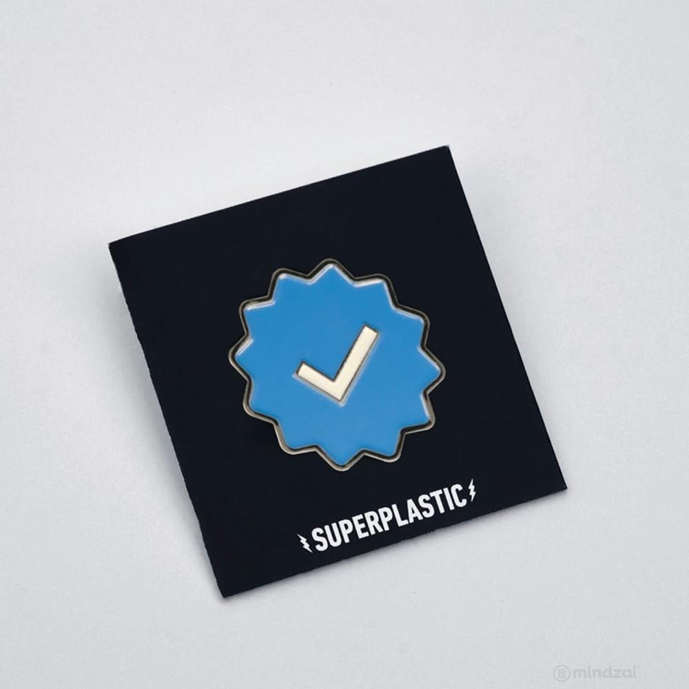 Blue Checkmark Enamel Pin by Superplastic