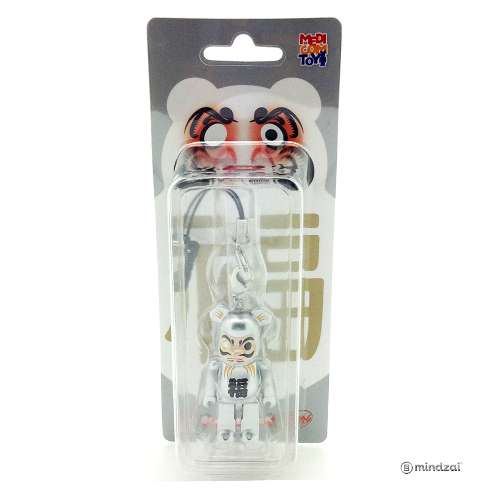Happy Bearbrick - Daruma Silver 70% Size with Strap