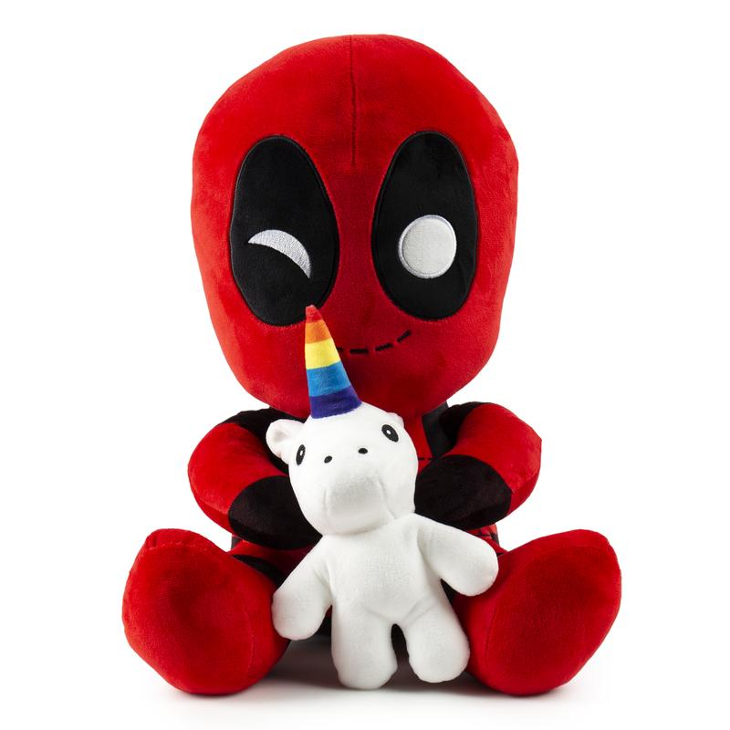 Deadpool Riding a Unicorn HugMe Vibrating Plush by Marvel x Kidrobot