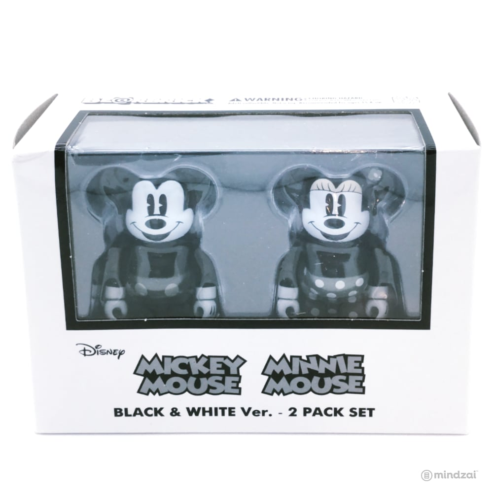 Disney Mickey Mouse and Minnie Mouse Black & White Ver. 2-Pack 100% Bearbrick by Medicom Toy