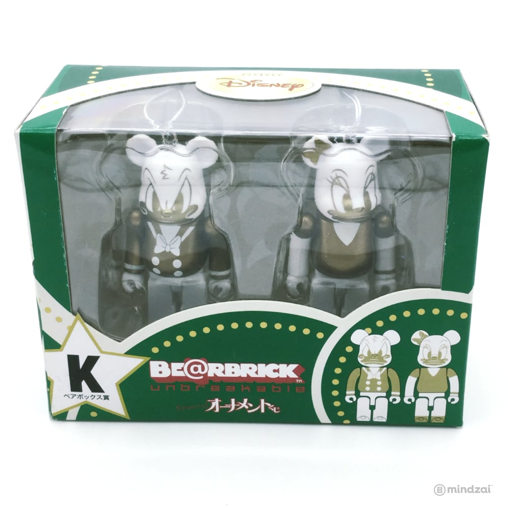 Disney Bearbrick Unbreakable Happy Kuji Set K - Donald Duck and Daisy Duck  2-Pack G+W Version