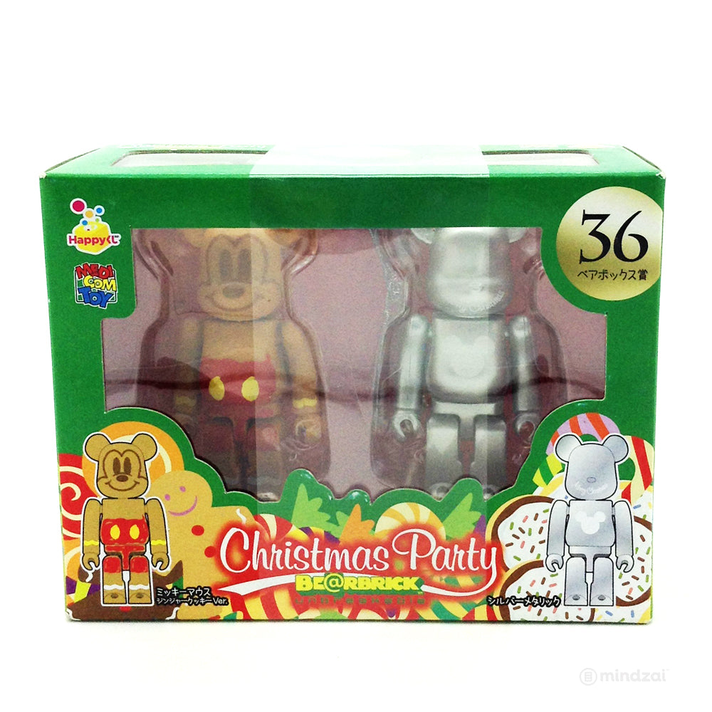 Disney Bearbrick Unbreakable - Happy Kuji # 36 - Mickey Mouse Ginger Cookie and Silver Metallic Version (2 PK) 100% Size