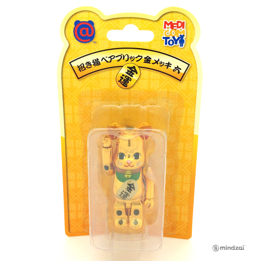 Tokyo Skytree Gold Metallic Maneki Neko Lucky Cat 100% Bearbrick by Medicom Toy