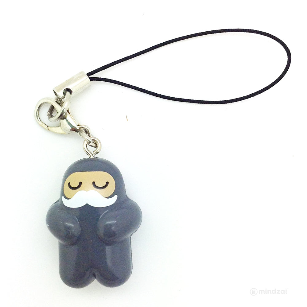 Shawnimals Ninja Zipper Pull - Grey Ninja with White Moustache